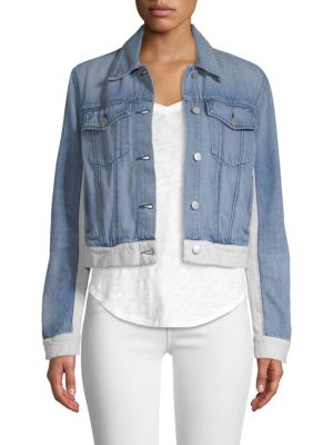 Harlow Panelled Denim Jacket in Blue And White
