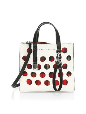 White Tartan Check Grind Mini Perforated Leather Tote Bag, Porcelain