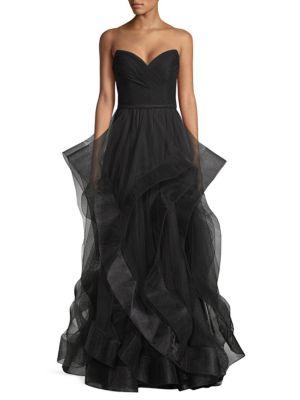 2fea1f965c3 Basix Black Label Strapless Velvet Cascade Tulle Gown In Black ...