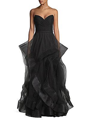 c262d747b02d Basix Black Label - Strapless Velvet Cascade Tulle Gown - saks.com