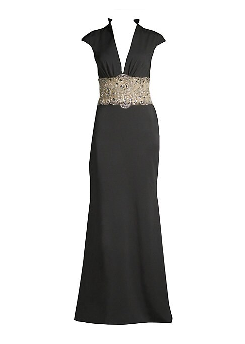 """Image of Beaded sequins elevate minimalist gown. Half bib collar.V-neck. Cap sleeves. Concealed back zip and keyhole button back neck closure. Sequined waist. Cut out at back. Acetate lining. About 62"""" from shoulder to hem. Polyester satin. Dry clean. Imported. Mo"""
