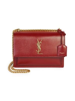 Medium Sunset Leather Shoulder Bag by Saint Laurent