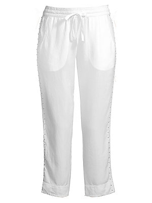 """Image of Embellished jogger pants in cropped silhouette Elasticized drawstring waist Front slash pockets Pull-on style Rise, about 10"""" Inseam, about 24"""" Cotton/elastane Machine wash Imported Model shown is 5'10 (177cm) wearing US size Small. Contemporary Sp - Casu"""