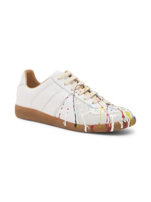 Replica Paint-Splash Leather Trainers, White