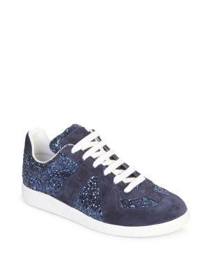 Replica Suede And Glitter Sneakers, Purple