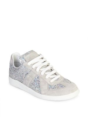 Glitter Lace-Up Sneakers, Silver