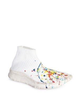 Splatter Paint Sock Sneakers, Light Ecru