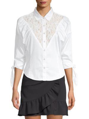 Lace-Yoke Sateen Button-Down Shirt, White