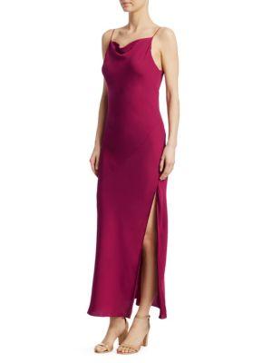 Draped Sleeveless Silk Maxi Slip Dress, Electric Pink