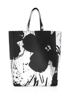 f92b922ec6 Calvin Klein 205W39Nyc Andy Warhol Soft Floral Leather Tote In Black ...