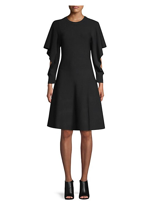 """Image of Flounce sleeve dress with stitched neckline. Roundneck. Long flounce sleeves. Pullover style. About 35"""" from shoulder to hem. Viscose/elite. Hand wash. Imported. Model shown is 5'10"""" (177cm) wearing US size Small."""