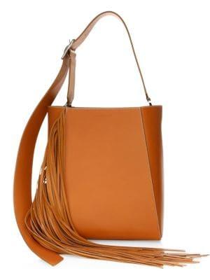 Fringe Leather Bucket Bag - Brown