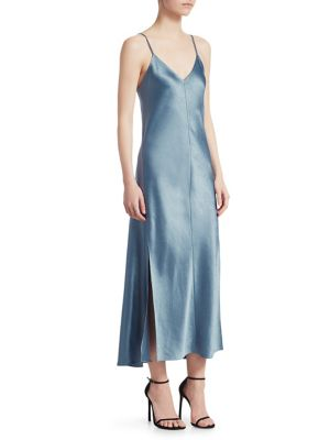 Hammered-Satin Midi Dress, Blue Heron
