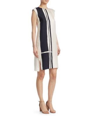 Striped Silk Cap-Sleeve Sheath Dress, Ecru Black