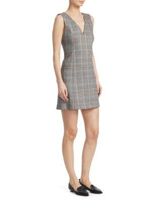 Easy V-Neck Plaid Shift Dress, Multi