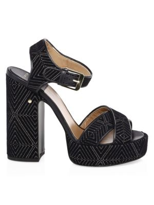 LAURENCE DACADE Rosange Velvet Platform Sandals in Black