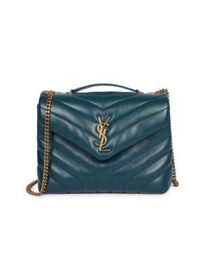 Small Lou Lou Chevron Quilted Leather Crossbody Bag by Saint Laurent