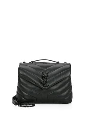 Small Lou Lou Chevron Leather Crossbody Bag by Saint Laurent