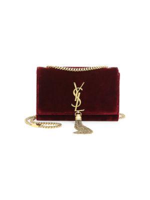 Sunset Monogram Ysl Small Velvet Chain Crossbody Bag in Red