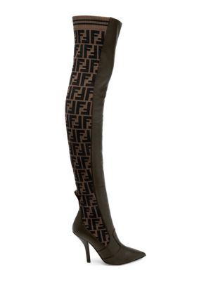 Rockoko Thigh High Leather And Sock Boots in Brown