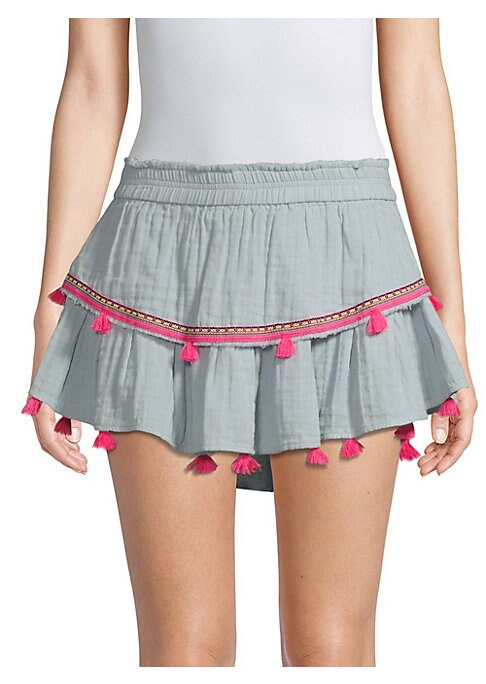 """Image of Bright tassels trim flirty layered gauze mini. Elasticized waistband. Pull-on style. Layered silhouette. Rounded hem. About 17"""" long. Cotton. Dry clean. Imported. Model shown is 5'10"""" (177cm) wearing a US size Small."""