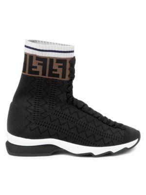 Rockoko High Top Knit Sneakers by Fendi