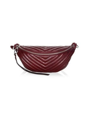 Edie Large Leather Sling Belt Bag, Bordeaux