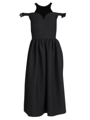 Cold-Shoulder Velvet-Trimmed Wool And Silk-Blend Midi Dress in Black
