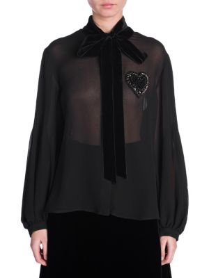Blouson-Sleeve Pleated-Back Silk Blouse With Heart Embroidery & Velvet Ties, Black