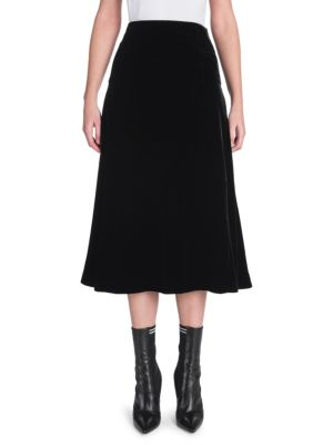 Velvet A-Line Midi Skirt, Black