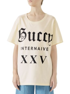 Oversize T-Shirt With Guccy Internaive Xxv, Sunkissed Beige