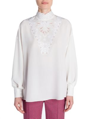 Long-Sleeve High-Neck Silk Blouse With Heart Embroidery, White