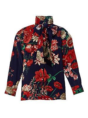 1c1b87c66a9b94 Gucci - Long-Sleeve Floral Tie-Neck Silk Blouse - saks.com