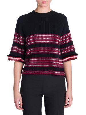Fur-Trimmed Striped Rib-Knit Wool-Blend Top, Black Red Stripe