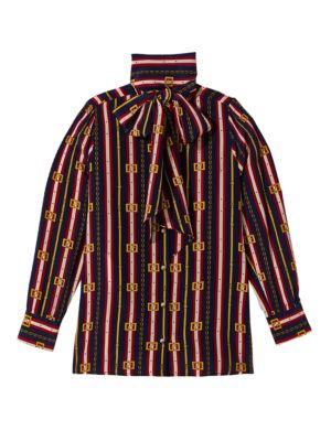 Bow-Neck Long-Sleeve Button-Front Silk Crepe De Chine Blouse, Blue/ Red Print