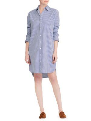 Polo Ralph Lauren Cottons Pinstriped Cotton Shirtdress