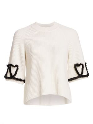 3/4-Sleeve Ribbed-Knit Sweater With Mink Fur Heart Details, Ivory