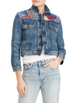 Polo Ralph Lauren Denims Cropped Patchwork Trucker Denim Jacket