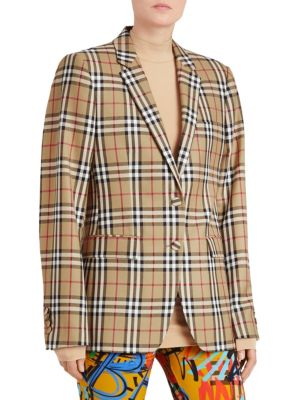 Vintage Check Wool Tailored Jacket Uk 2 20661 in Yellow