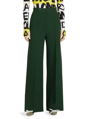 High-Waist Wide-Leg Tailored Trousers, Dark Forest