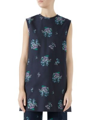 Flowers Fil Coupé Cotton Wool Tunic Top in Blue