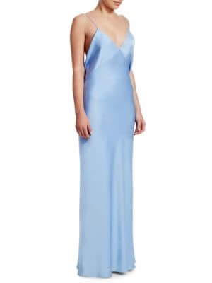 Gran V-Neck Draped-Back Sleeveless Silk Evening Gown, Baby Blue