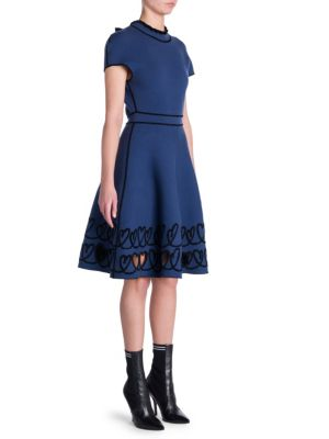 Reversible Cap-Sleeve Fit-And-Flare Knit Dress With Scroll Heart Hem in Blue