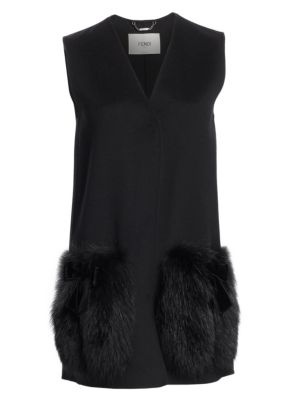 Fur-Patch Tailored Coat, Black