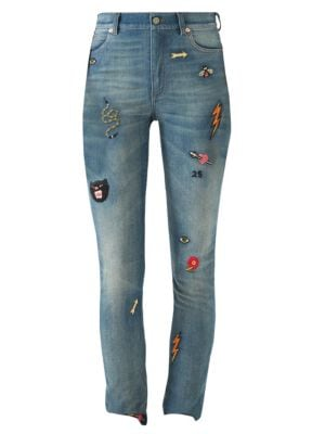Patch Embellished Skinny Jeans in Blue