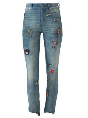 Patch Embellished Skinny Jeans, Blue