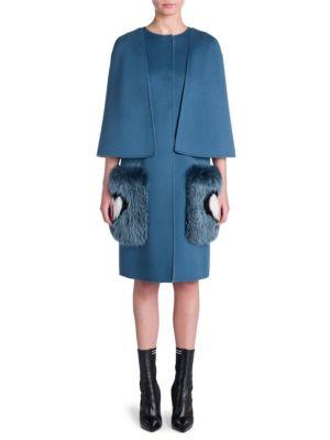 Fur-Trimmed Wool Coat, Blue White