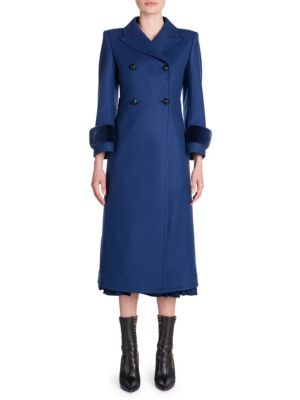 Double-Breasted Wool Coat With Tonal Mink Fur Cuffs, Deep Blue