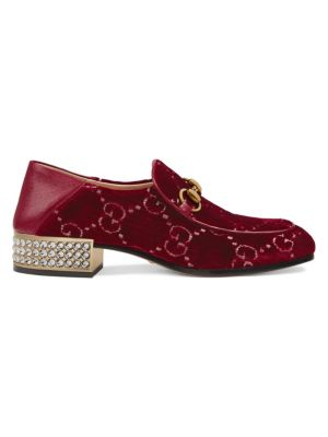 Mister Gg Crystal-Embellished Velvet Loafers, Red