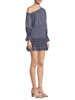 Royce One-Shoulder Embroidered Mini Dress in Sorrento Embroidery